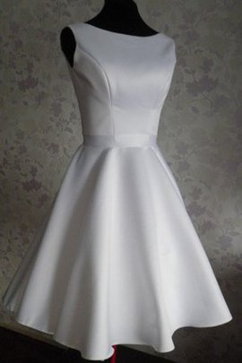 Natural Waist Sleeveless Pleated A-Line Satin Wedding Dress