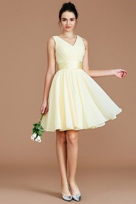 Natural Waist Chiffon A-Line V-Neck Bridesmaid Dress