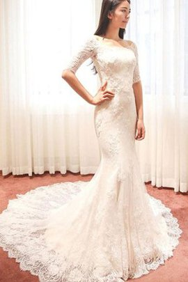 Chic & Modern Lace Half Sleeves Pleated Mermaid Wedding Dress
