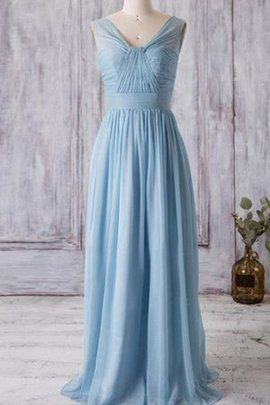Deep V-Neck Sweep Train Ruched Sleeveless Pleated Bridesmaid Dress