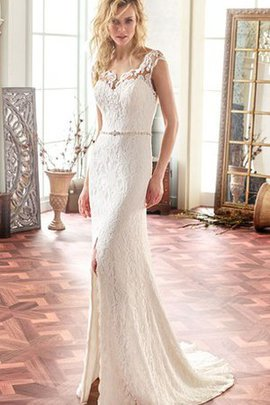 Court Train Split Front Notched Button Wedding Dress