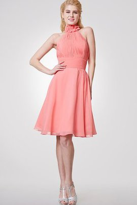 Informal & Casual Halter Flowers High Neck Knee Length Bridesmaid Dress