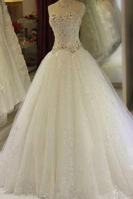 Keyhole Back Sweetheart Tulle Sequined Wedding Dress