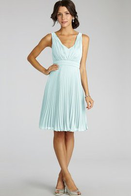Pleated Sleeveless V-Neck A-Line Chiffon Bridesmaid Dress