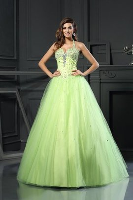 Empire Waist Satin Long Halter Ball Gown Quinceanera Dress