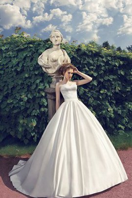 Lace-up A-Line Court Train Simple Sleeveless Wedding Dress