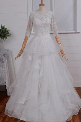 A-Line Floor Length Modest Spaghetti Straps Organza Wedding Dress