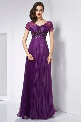 Zipper Up Beading Short Sleeves Organza Floor Length Evening Dress