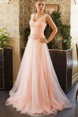 Beading A-Line V-Neck Lace-up Sweep Train Prom Dress