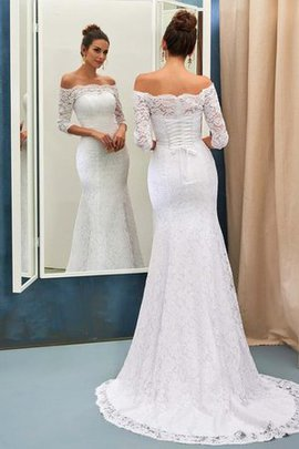 Exclusive 3/4 Length Sleeves Off The Shoulder Brilliant Long Embroidery Hall Wedding Dress