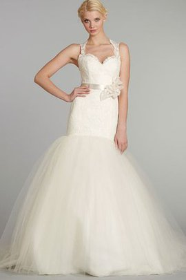 Tulle Natural Waist Sexy Flowers Keyhole Back Wedding Dress