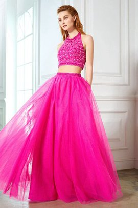 Natural Waist Beading Floor Length Princess Sleeveless Evening Dress