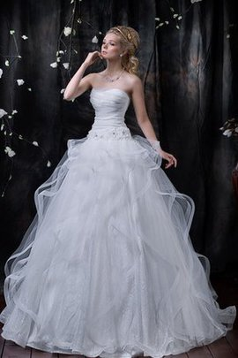 Flowers Long Ball Gown Ruffles Ruched Wedding Dress