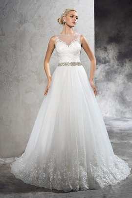 Court Train Sleeveless Long A-Line Wedding Dress