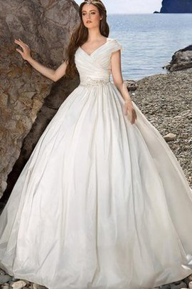 Ruched Vintage Long Capped Sleeves Lace-up Wedding Dress