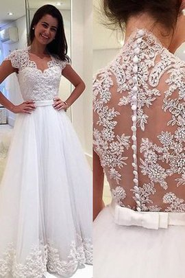 Appliques Sparkling Jewel Accented Princess Sheer Back V-Neck Pleated Wedding Dress