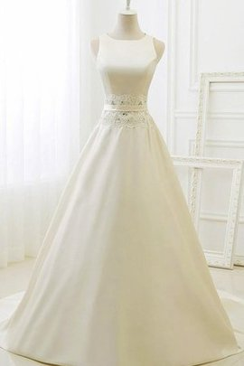 Lace Fabric Sleeveless Satin Ball Gown Tulle Wedding Dress