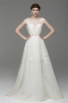 Capped Sleeves Floor Length Short Sleeves Keyhole Back Tulle Wedding Dress