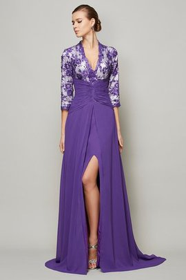 Chiffon Zipper Up A-Line Lace Empire Waist Evening Dress