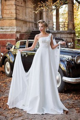 Lace-up Empire Waist Chiffon Beading Wedding Dress
