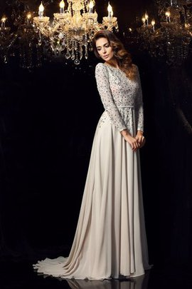 Court Train Chiffon Long Scoop Long Sleeves Evening Dress