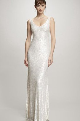 Tulle Sleeveless Zipper Up Sheath Sweep Train Wedding Dress