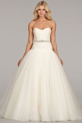 Ball Gown Tulle Sweetheart Backless Pleated Wedding Dress