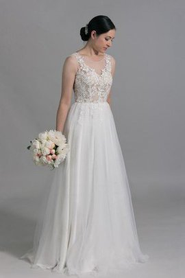 A-Line Floor Length Sweep Train Scoop Sleeveless Wedding Dress
