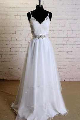 Spaghetti Straps V-Neck Tulle A-Line Beading Wedding Dress