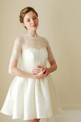 Natural Waist High Neck A-Line Short Sleeveless Wedding Dress