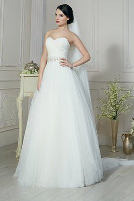 Sleeveless Natural Waist Tulle Lace-up Floor Length Wedding Dress