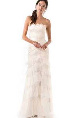 Floor Length Long Ruffles Backless Sheath Wedding Dress