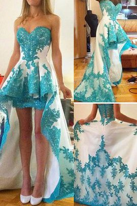 Lace Fabric Romantic Sweetheart High Low Sleeveless Prom Dress