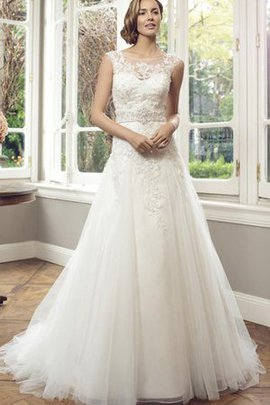 Lace Fabric Bateau Long Floor Length Pleated Wedding Dress