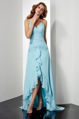 Zipper Up Crystal Princess High Low Prom Dress