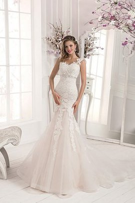 Tulle Spaghetti Straps Romantic Crystal Court Train Wedding Dress