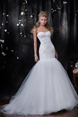 Lace-up Appliques Natural Waist Mermaid Sweep Train Wedding Dress