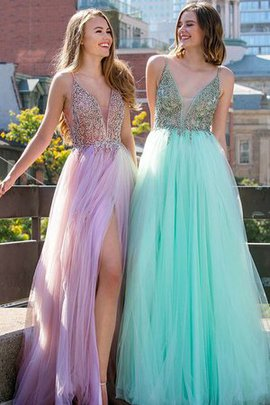 Wonderful Floor Length Natural Waist Tulle Princess V-Neck A-Line Prom Dress