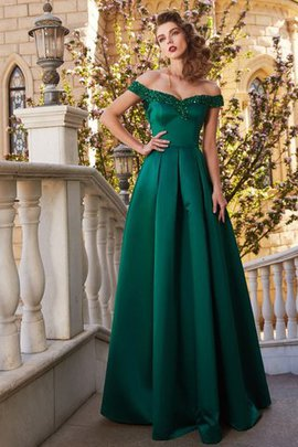 Satin Floor Length Off The Shoulder Natural Waist Zipper Up Evening Dress