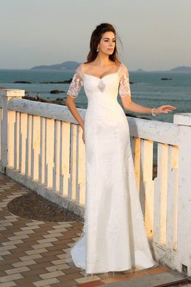 Empire Waist Sheath Long Appliques Short Sleeves Wedding Dress
