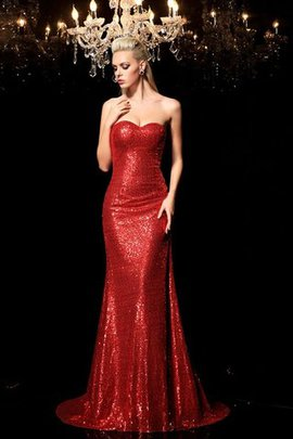 Natural Waist Sequins Sweetheart Sleeveless Sweep Train Evening Dress