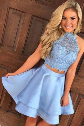 Short Attractive Two Piece A-Line Satin Lace Sleeveless Homecoming Dress