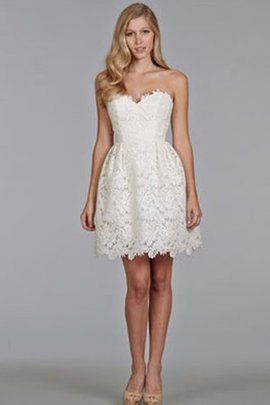 Lace Fabric Sleeveless Informal & Casual Short Sweetheart Wedding Dress