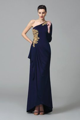 Sheath Embroidery Long Floor Length Long Sleeves Prom Dress