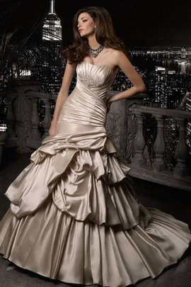 Satin Beading Chapel Train Floor Length Sleeveless Wedding Dress