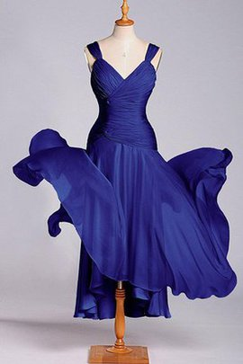 Chiffon A-Line Dropped Waist Pleated Bridesmaid Dress