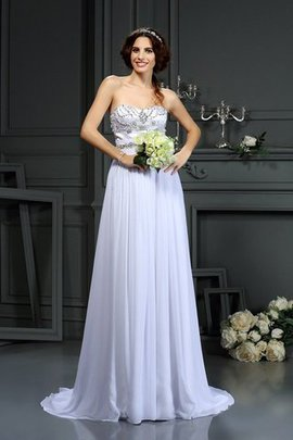 A-Line Chiffon Natural Waist Court Train Wedding Dress