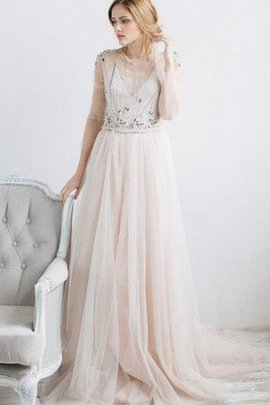 Tulle Beading Jewel Half Sleeves Sweep Train Bridesmaid Dress