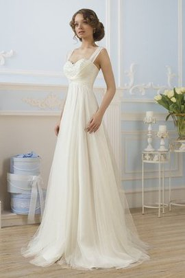 Pleated Lace-up Appliques Tulle Natural Waist Wedding Dress