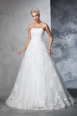 Empire Waist Ball Gown Lace Strapless Court Train Wedding Dress